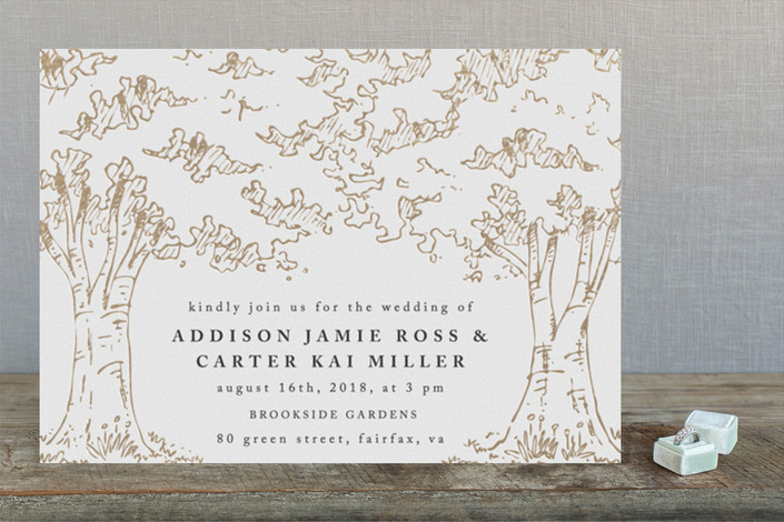 a poem for the trees gold foil-pressed wedding invitations
