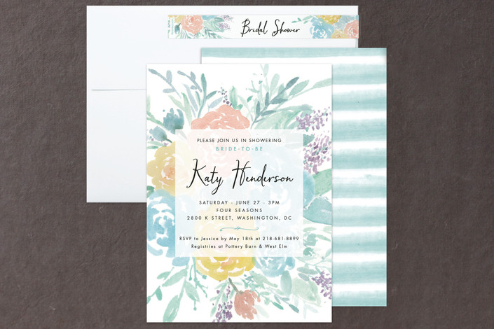 among the flowers watercolor floral bridal shower invitations