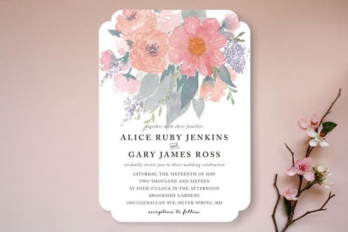 fresh watercolor floral wedding invitations