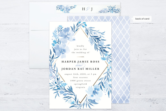 poetic blue watercolor floral wedding invitations